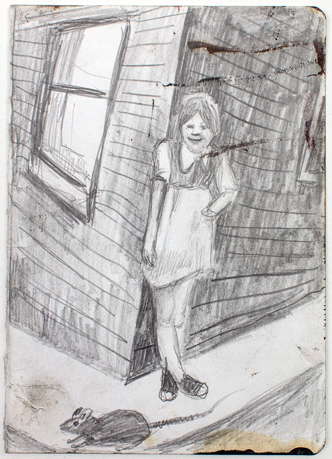 'Girl with a Rat' drawing by Ben Westley Clarke