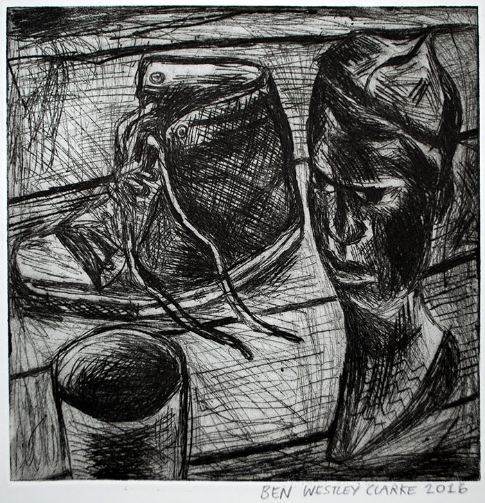 'Still Life with African Sculpture and Shoe' drawing by Ben Westley Clarke