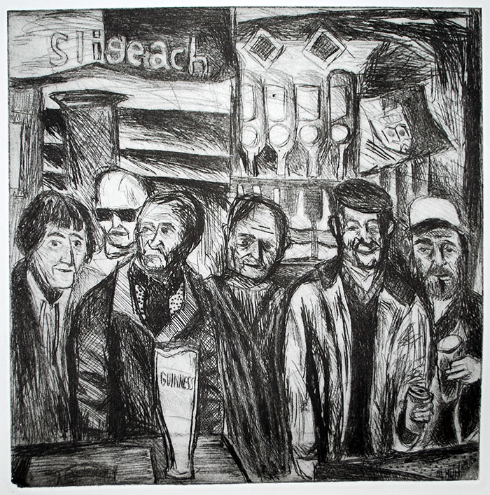 'Men at The Cock Tavern' drawing by Ben Westley Clarke